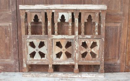 Wooden Balcony Panel with faded cream paint <b>SOLD<b>